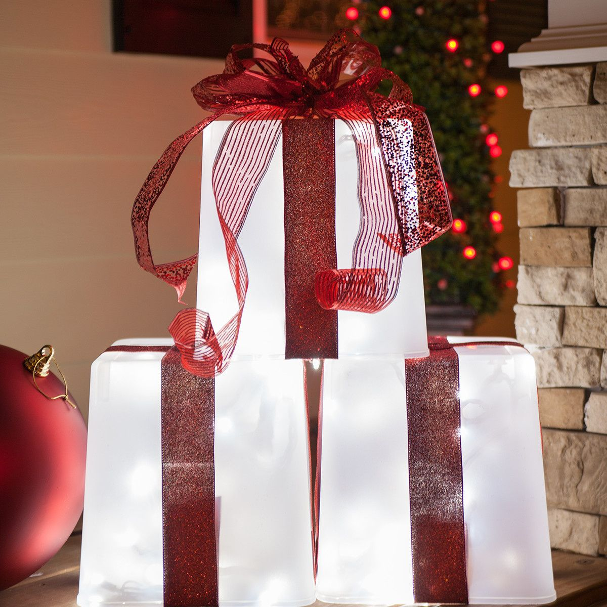 DIY Christmas Decorations 4 Lighted Gift Boxes Christmas