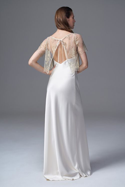 62a6612f1943 THE BERRY GOLD FRENCH CHANTILLY LACE TEE PAIRED WITH THE CLASSIC IRIS IVORY  SLIP BRIDAL WEDDING DRESS BY HALFPENNY LONDON