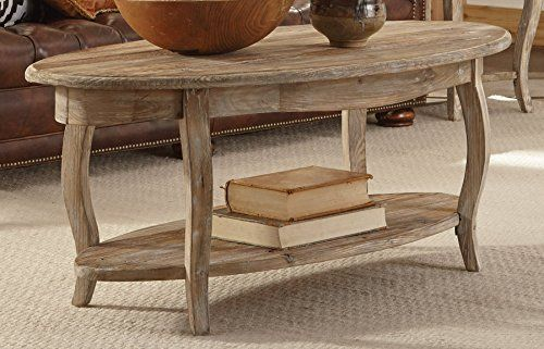 Alaterre Rustic Reclaimed Oval Coffee Table Driftwood Br Https