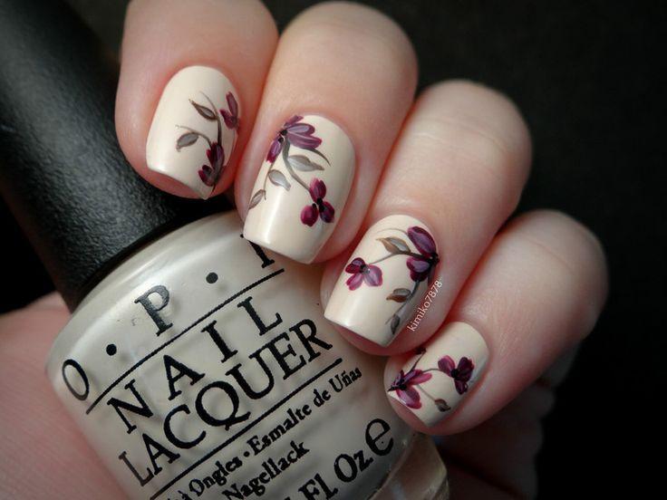 Burgundy Floral Nails - Delicate Nude Floral Nails Nails, Nail Art And Floral Nail Art