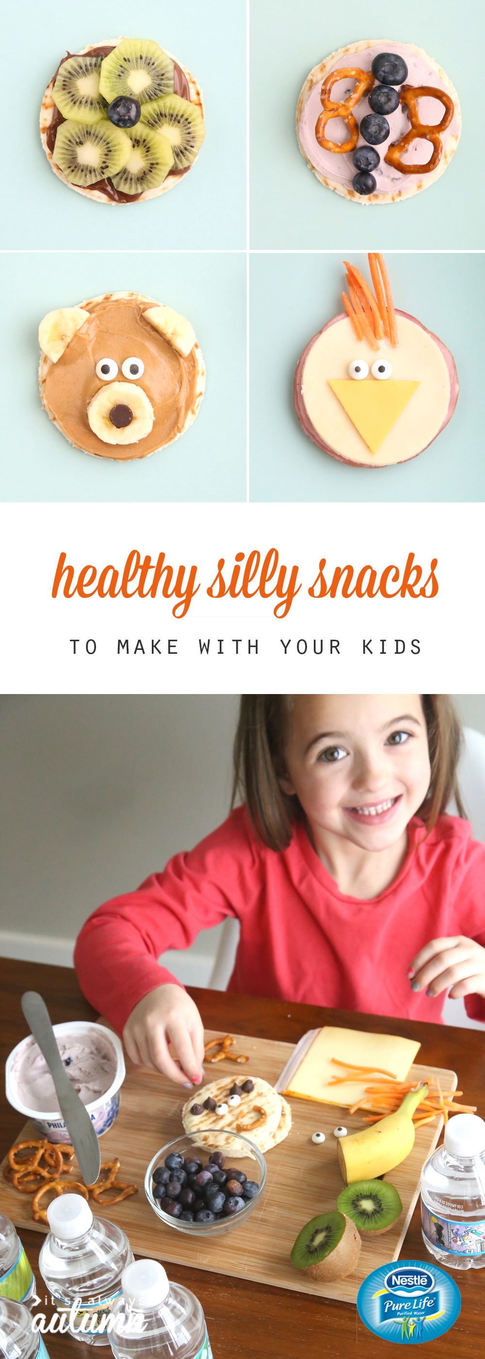 these adorable silly snacks for kids are healthy and easy to make! Ham & cheese chick, peanut butter banana bear, blueberry pretzel butterfly, and kiwi nutella flower. #NestleShareaSmile #ad