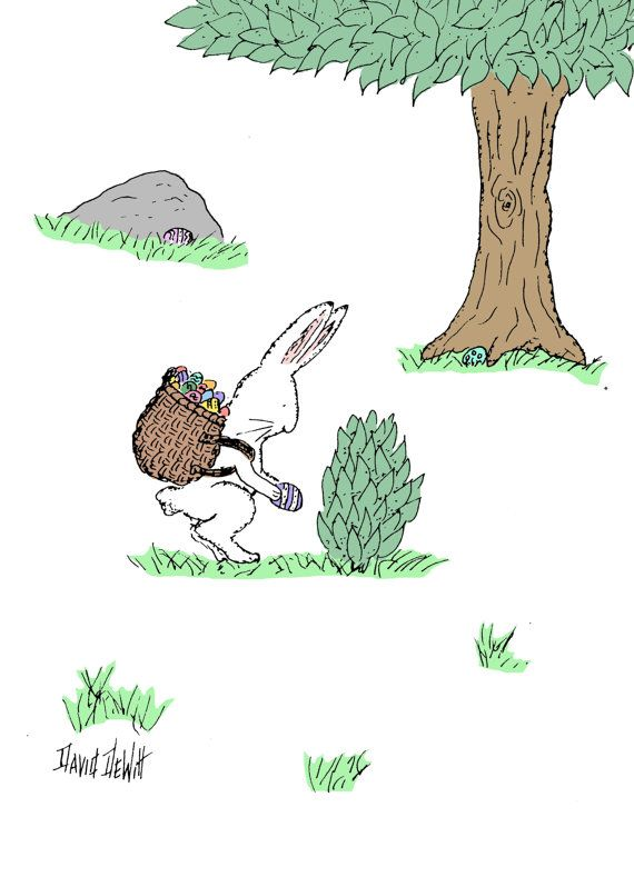 Easter Card Bunny Hiding Eggs by TheSilentCardShop on Etsy, $3.00