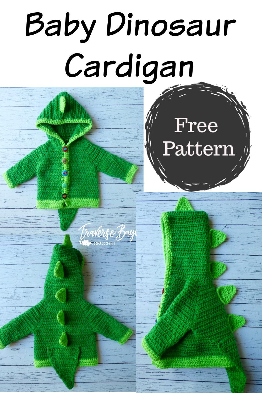Dinosaur Baby Crochet Cardigan - #crochetdinosaurpatterns