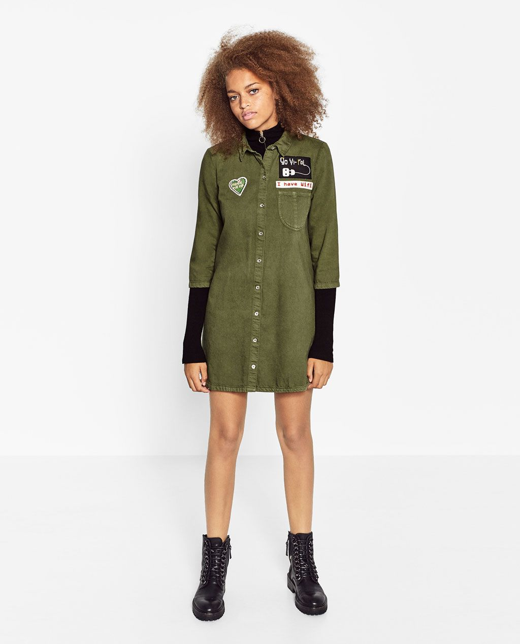 Image 1 of PATCH SHIRT DRESS from Zara