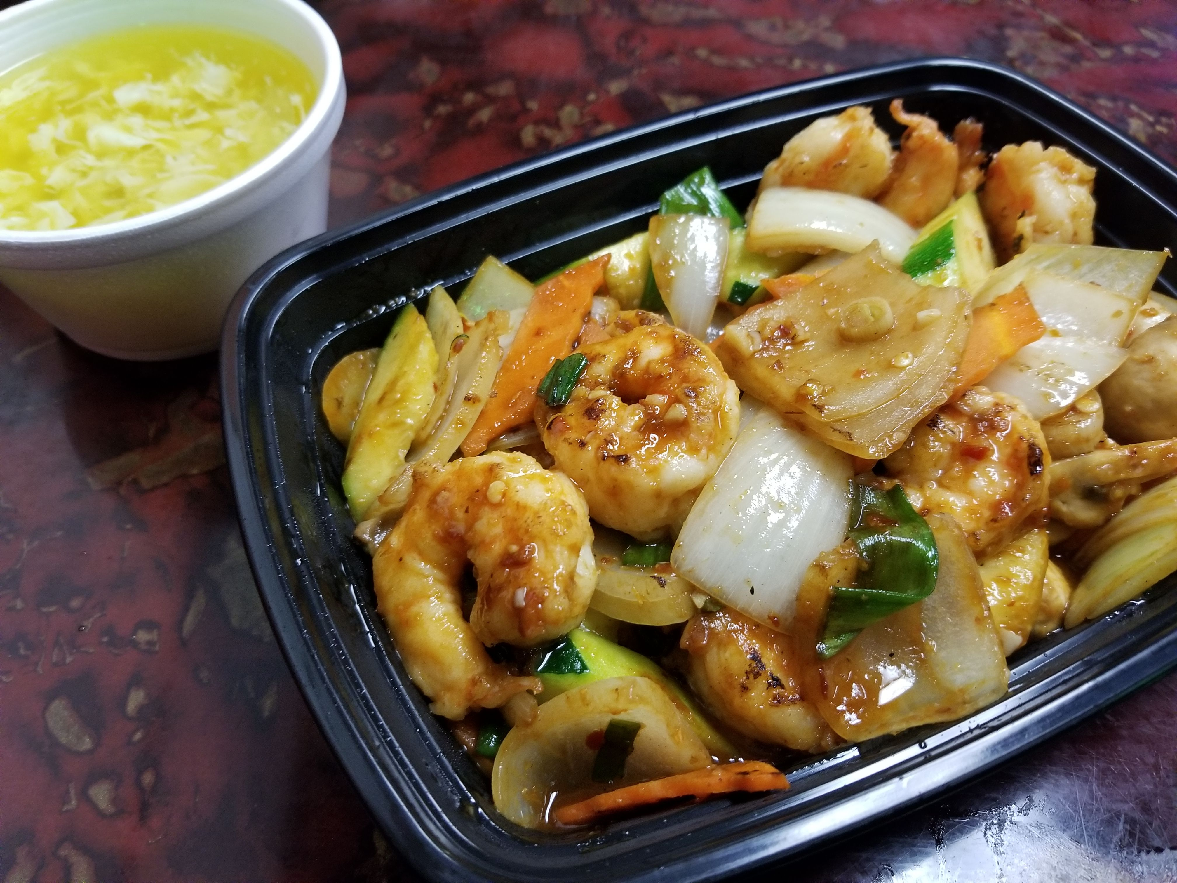Mongolian Shrimp Includes Large Shrimp Onions Zucchini Scallions And Carrots With A Side Of Egg Drop Soup Featured O Food Chinese Restaurant Egg Drop Soup
