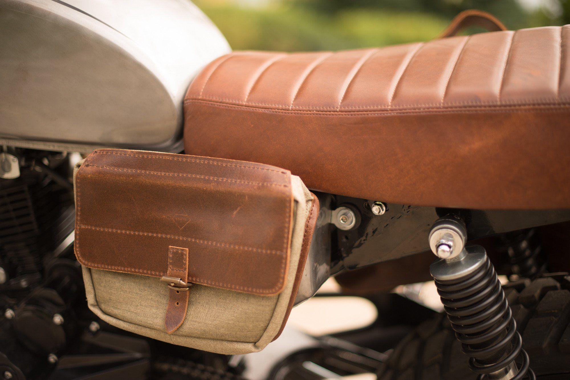 Handcrafted Genuine Leather Bag Saddle Handlebar Moto Bike Motorbike Moped