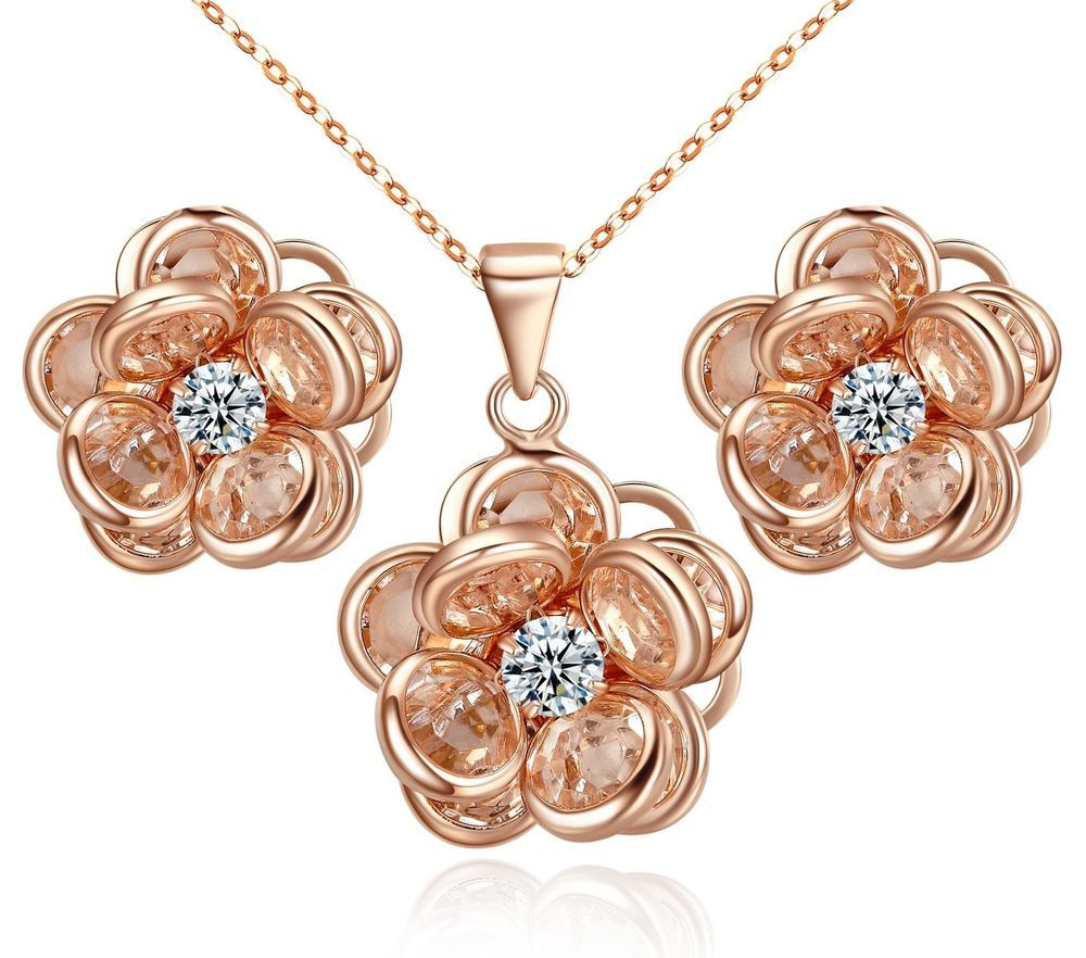 Jewelry sets yoursfs camellia flower necklace u earrings setk