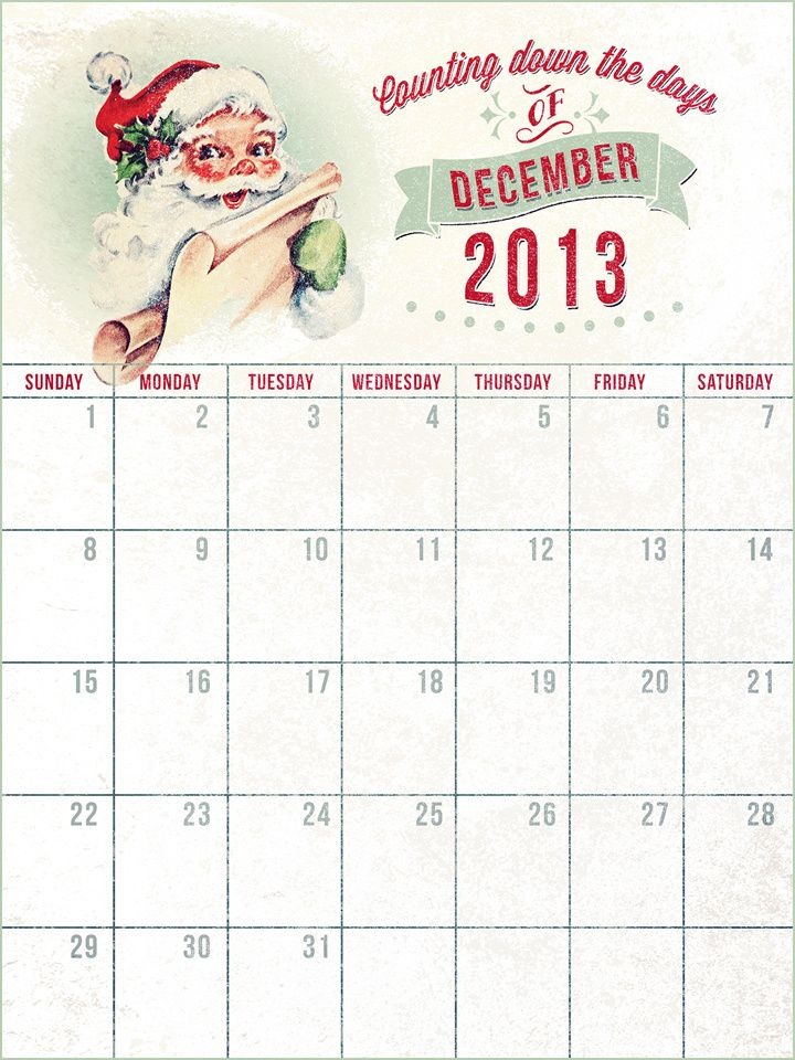Vintage Christmas Countdown Calendar Searching for this exact page - daily calendar printable