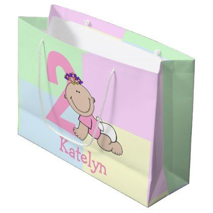 Cute cartoon baby girl 2nd birthday large gift bag baby gifts cute cartoon baby girl 2nd birthday large gift bag baby gifts child new born gift negle Images