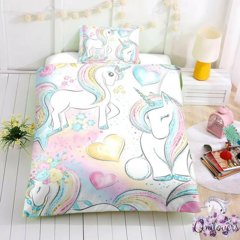 Magical Unicorns Gathering Together Bedding Set Unilovers Unicorn Room Decor Unicorn Bedding Bedding Set
