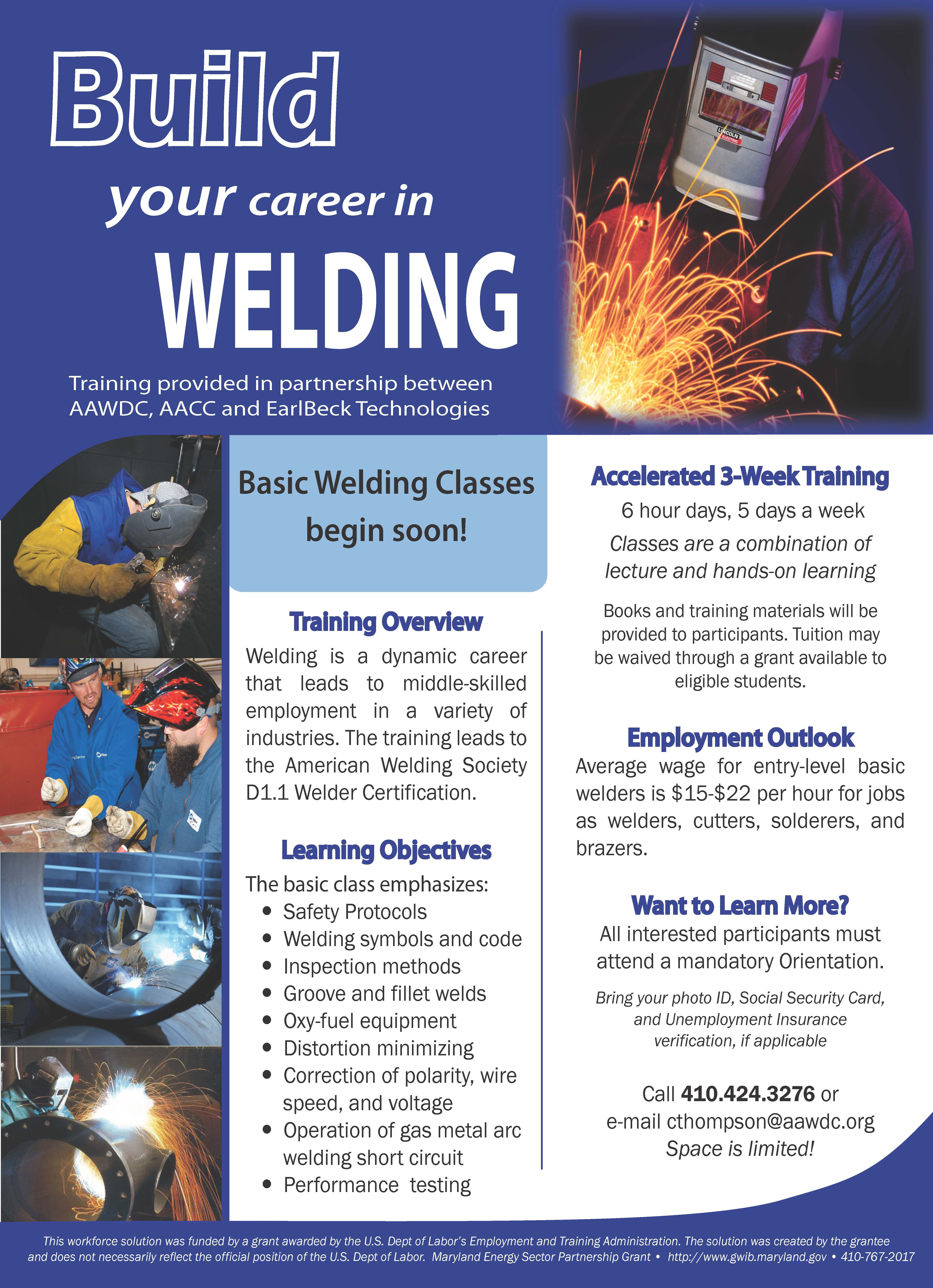 A flyer i designed for a welding training workplace
