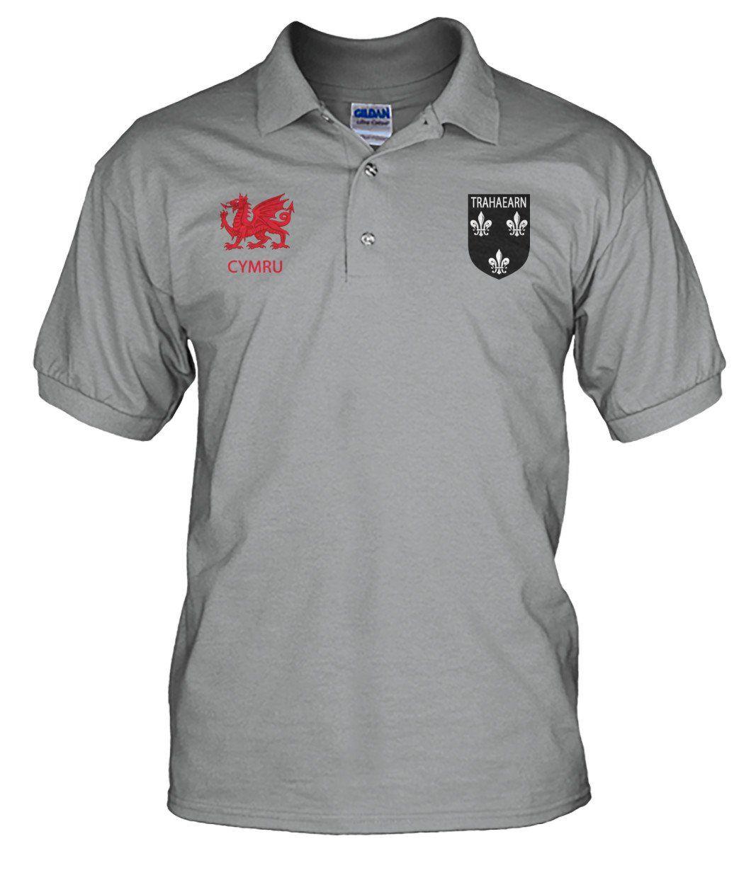 Wales Polo Shirt - Trahaearn (Ap Caradog, King Of Gwynedd) Badge (Men s) A9 ee7d1674b6