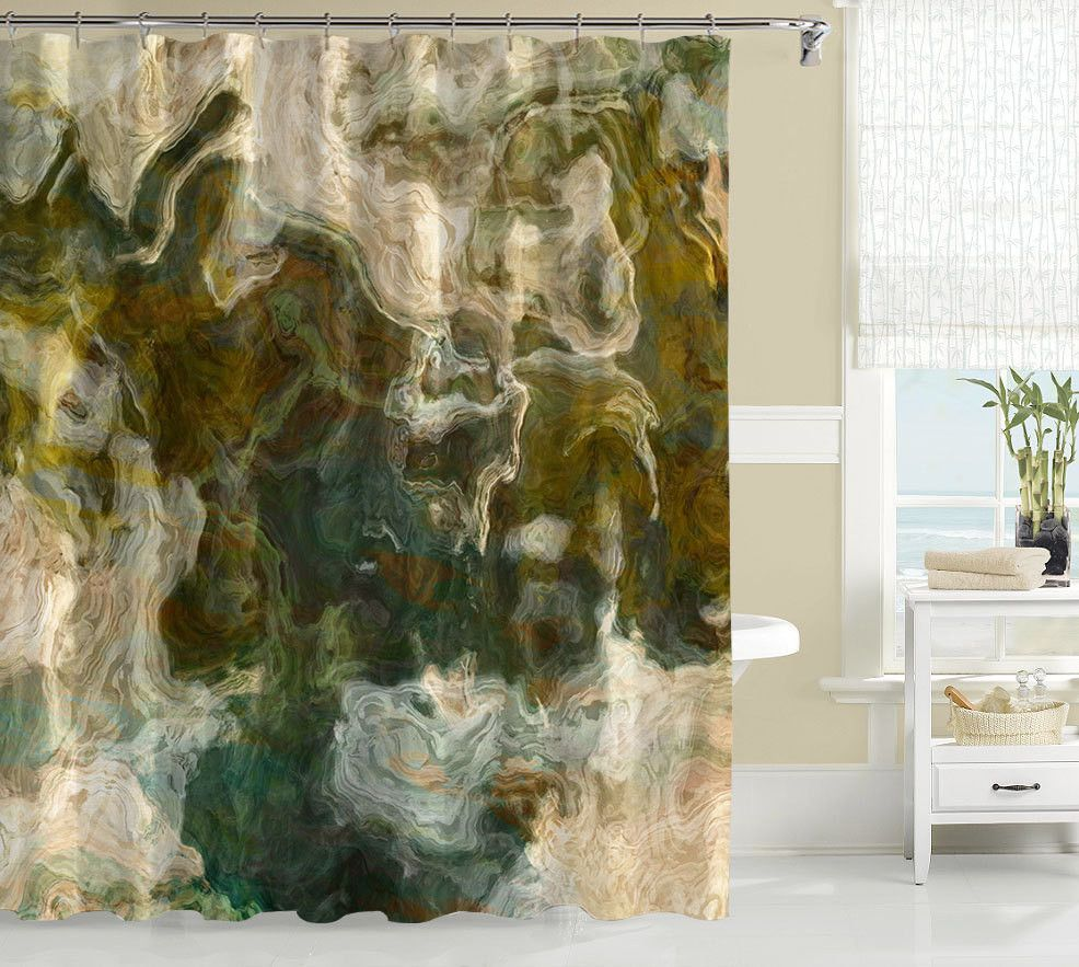 Contemporary Shower Curtain Abstract Art Olive Khaki And Brown