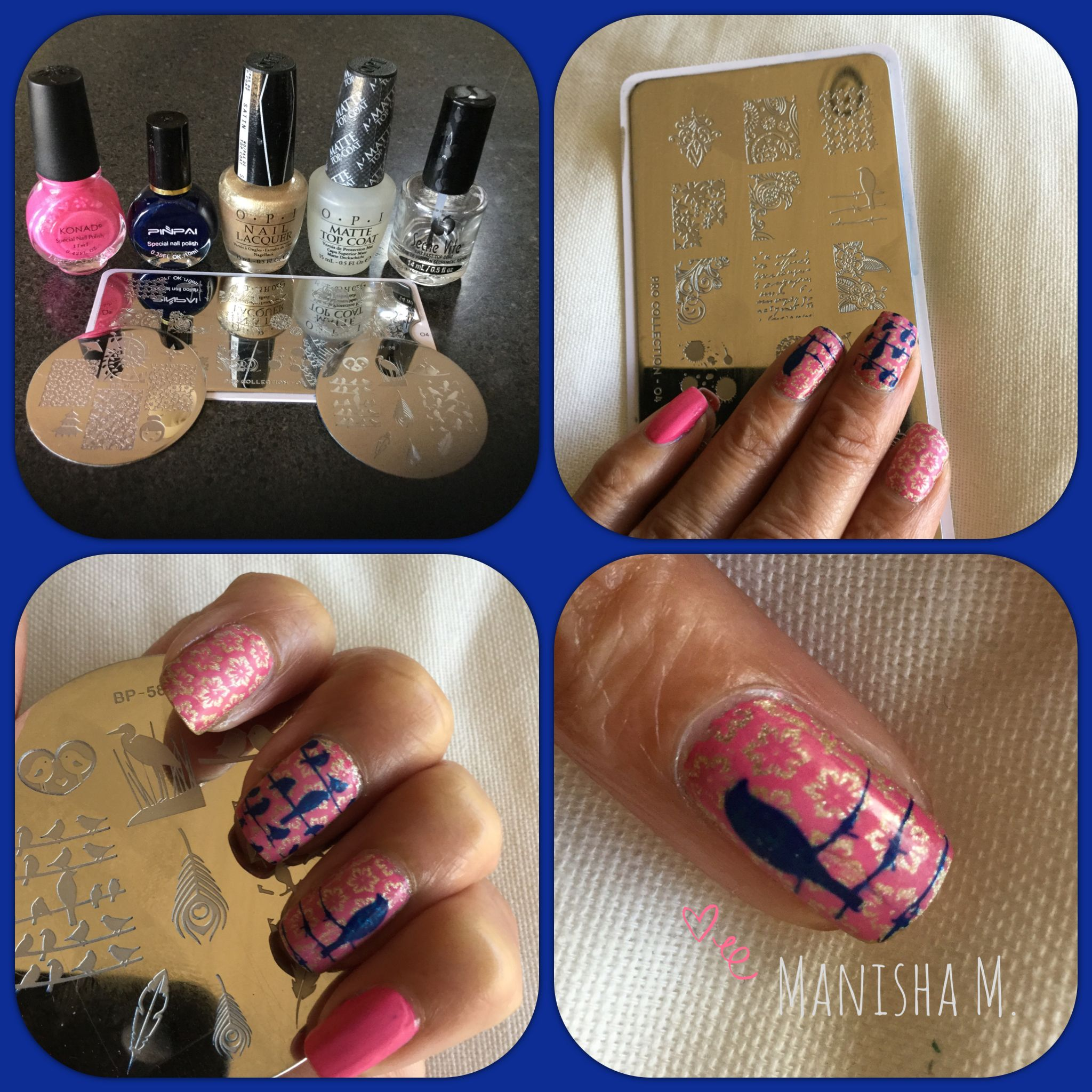 Pretty Birds Nail Art. Base OPI Love..Angel..Music..Baby, Stamped ...