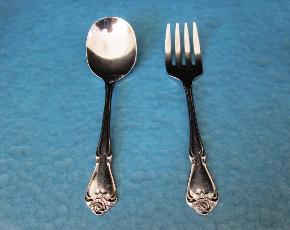 3 Pc SET Oneida CHATEAU Baby Spoon Fork Infant Oneidacraft Deluxe Stainless