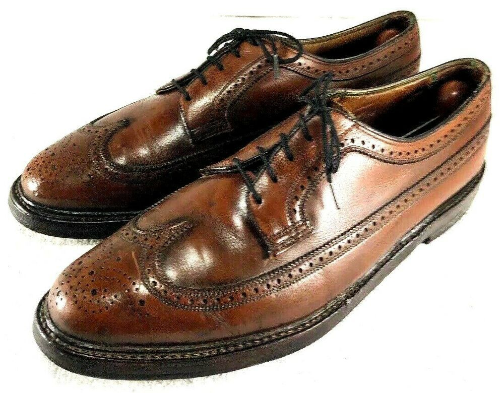 6ad69ad69aa1d Details about Vintage Florsheim Imperial Mens Brown Leather Oxfords ...