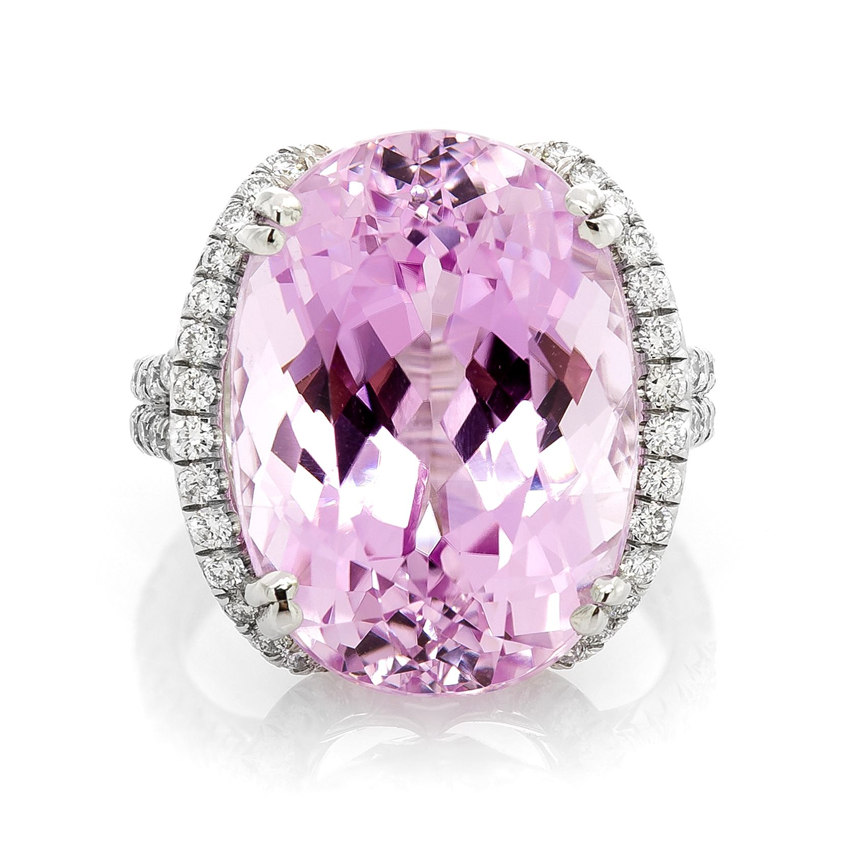 18K White Gold 19.70Ct Oval Cut Kunzite & 1.40Ct Diamond Ring Our ...