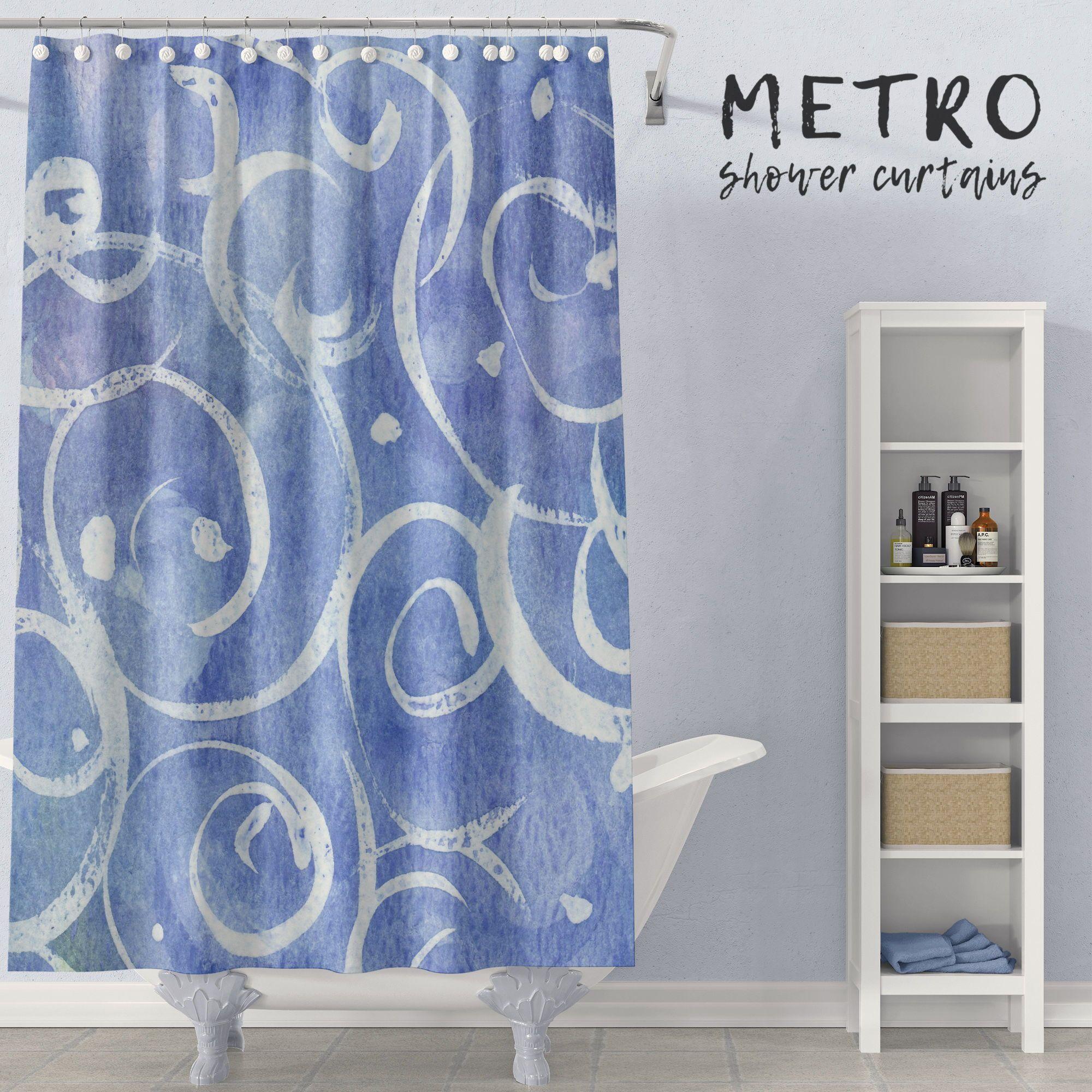 Blue Watercolor Spirals Underwater Art Shower Curtain