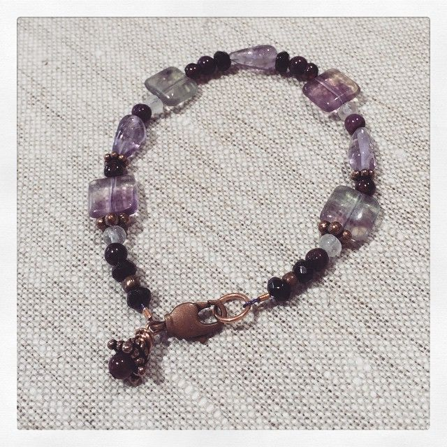 """""""Custom healing gemstone bracelet for my sister's friend who was diagnosed with breast cancer. Copper, fluorite, garnet, sugilite, black tourmaline & rose…"""""""