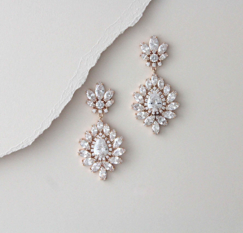 Rose Gold Bridal Earrings Bridal Jewelry Crystal Drop Earrings Etsy Crystal Bridal Earrings Gold Bridal Earrings Crystal Bridal Bracelet