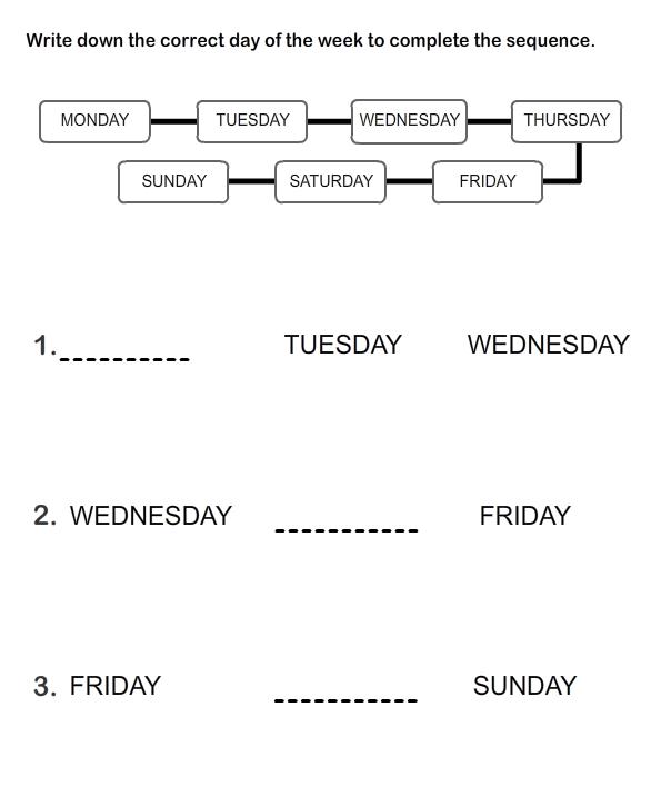 Kindergarten Days Of The Week 2 Worksheets Free Printable Spanish ...