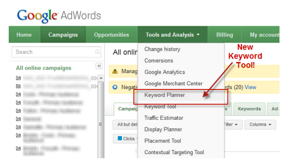 How To Use The Keyword Planner The New Keyword Tool From Google Adwords Keyword Planner Google Adwords Adwords