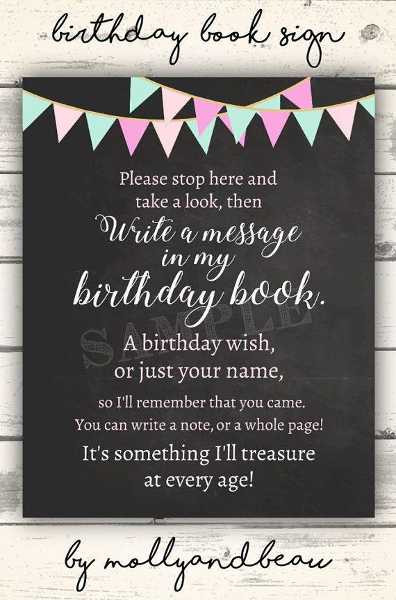 Sign My Birthday Book Birthday Guest Book Sign Girl S Birthday Printable Decor Gold Pink Black Birthday Chalkboard Printable Sign Guestbook Birthday Birthday Book First Birthday Wishes