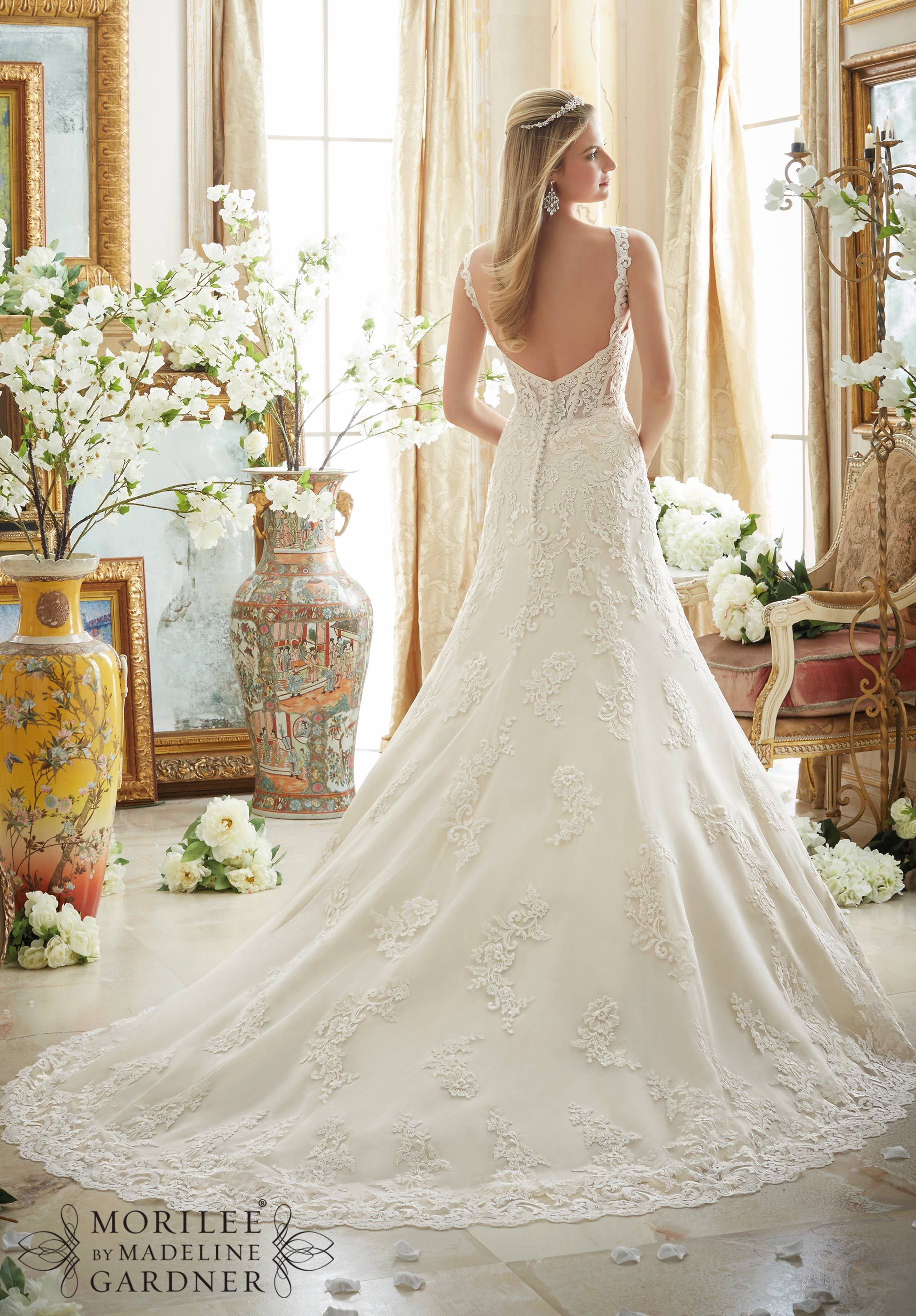 Embroidered lace wedding dress  Wedding Dress  Embroidered Lace Appliques on Tulle with Wide