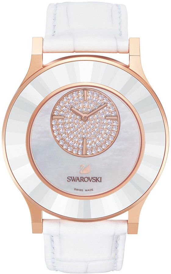 c762d2cf524b1b Swarovski Octea Mother of Pearl Rose Gold Leather Strap Watch 39mm ...