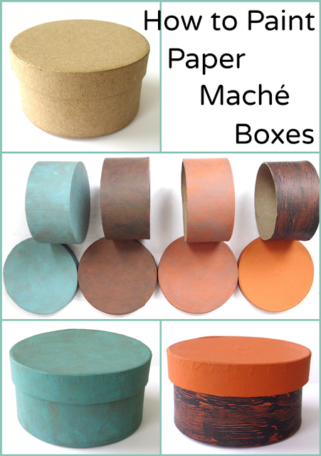 Paper Mache Round High Boxes with Lids to Decorate