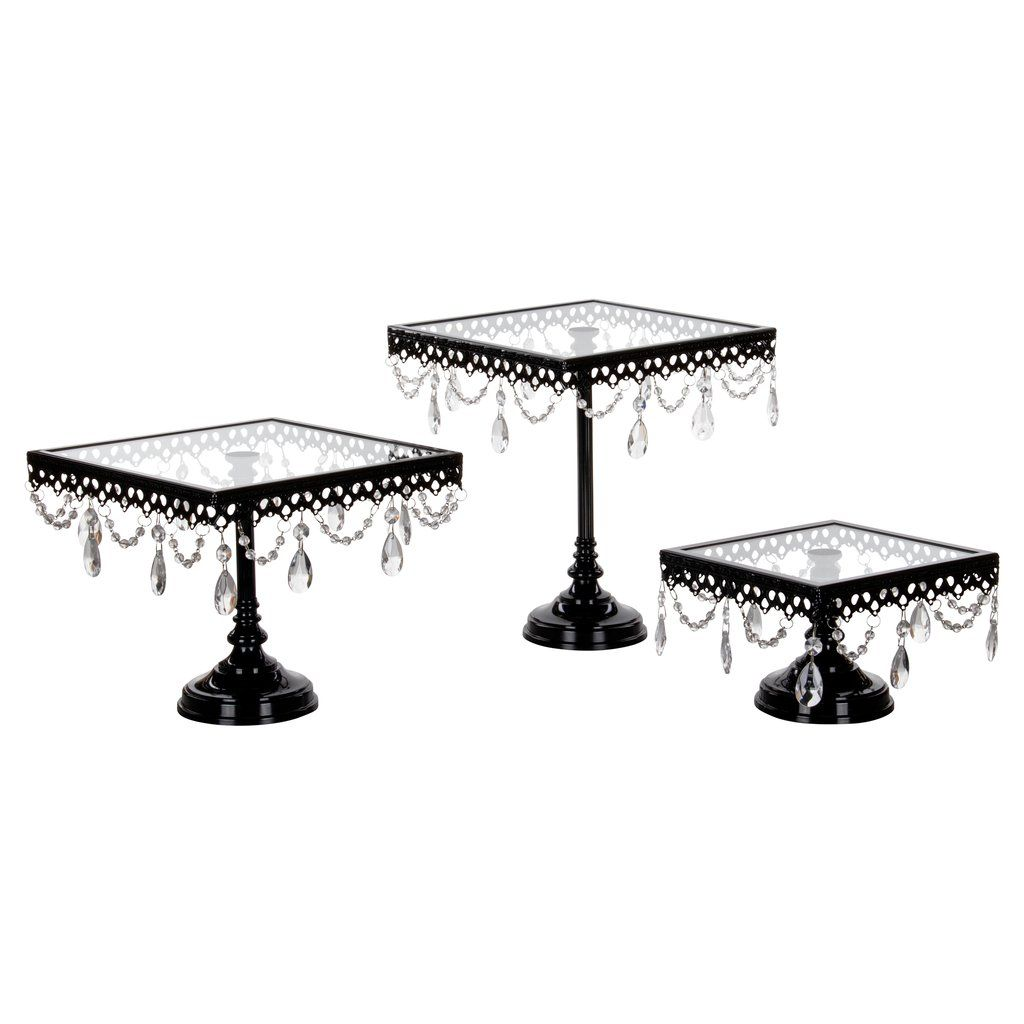3-Piece Square Glass-Top Crystal Cake Stand Set (Black