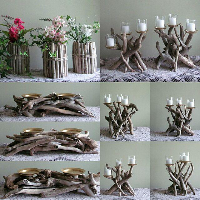 Photo of Driftwood Two Pillar Candle Holder, Driftwood Candelabra, Wood Candle Holder, Driftwood Art, Rustic Home Decor, Coastal Decor, Driftwood