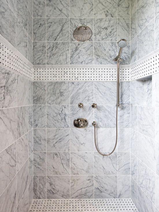 Marble Square Tiles Nickel Rain Shower Decorative Tile Floor And Stripe