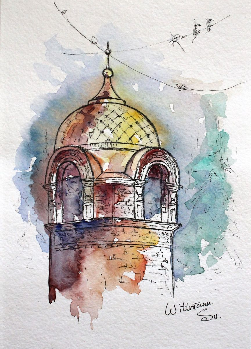 Original Watercolor Sketch 15x21 Cm Watercolor Sketch