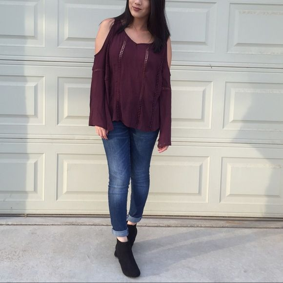 NWOT. Plum cold shoulder top NWOT. Super cute and perfect for this season! Never worn other than for this picture. Has slight bell sleeve. Price is firm. NO TRADE/PP Tops Blouses