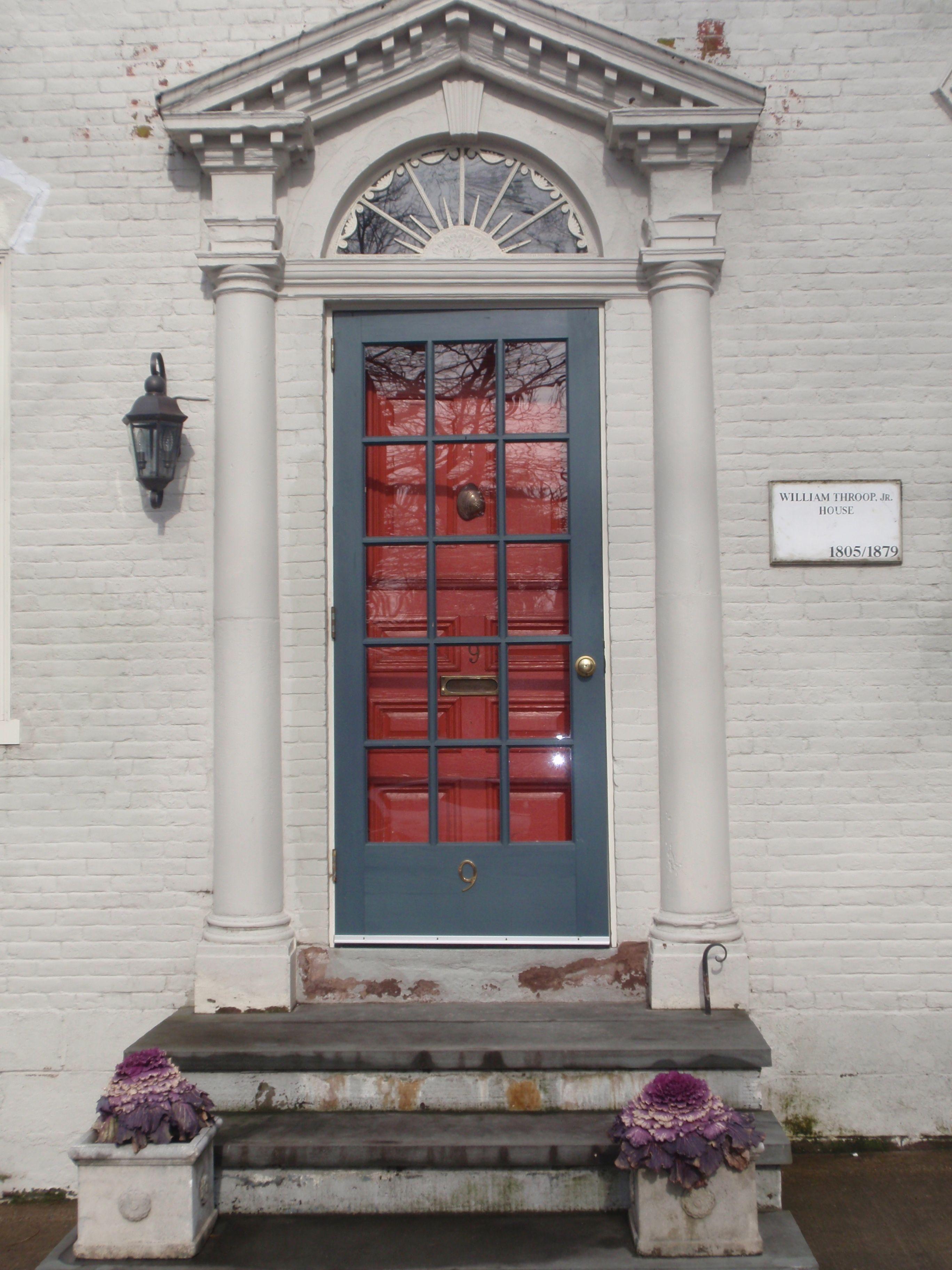 Orange Door With Slate Blue Storm Door Gorgeous