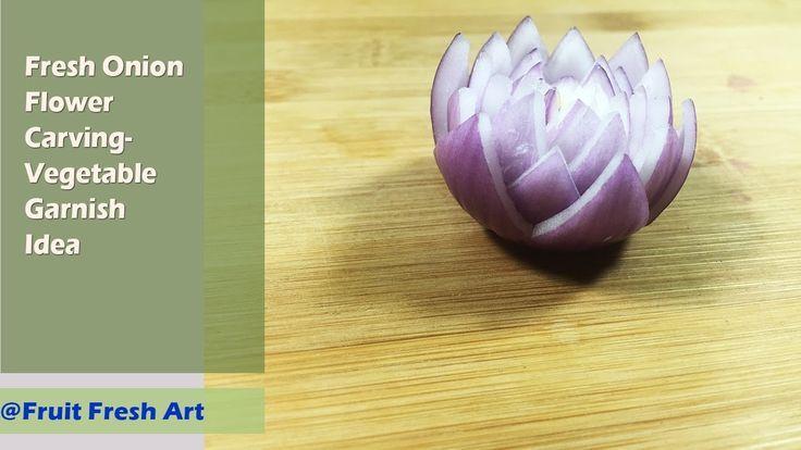 Zwiebel-Blumen-Schnitzen - Gemüse schmücken Idee   - Fruit Fresh Art -
