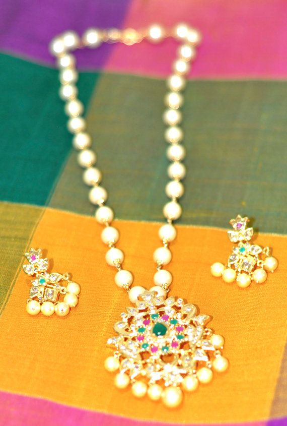 South Sea Pearls One Gram Gold Necklace Set with Ruby, Emerald and ...