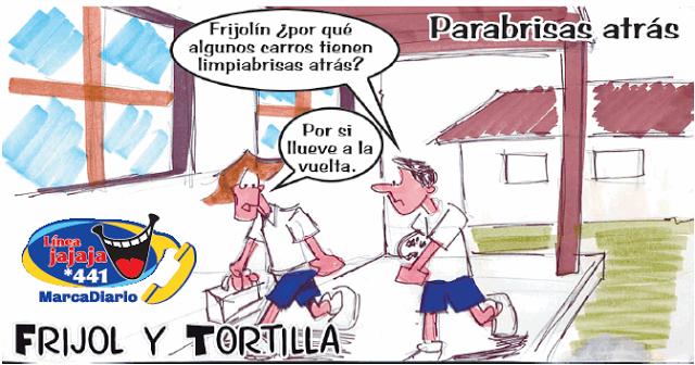 Frases, chistes, anécdotas, reflexiones y mucho más.: Chiste Frijol y Tortilla parabrisas trasero, Nuestro Diario Guatemala.