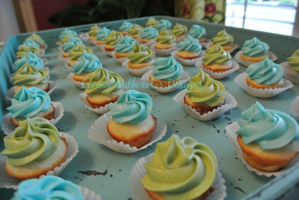 Aqua and mint green mini cupcakes