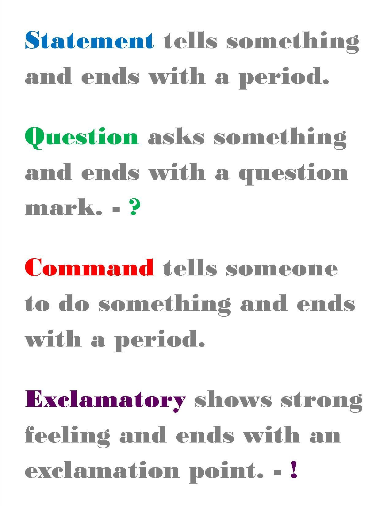 Statement Question Command And Exclamatory