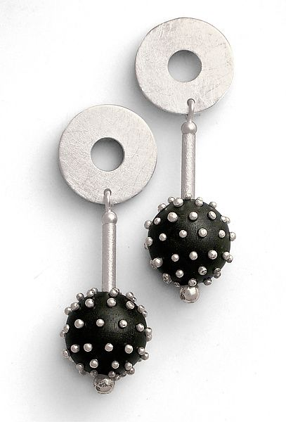 Silver Studded Ebony Earrings by Suzanne Linquist: Silver & Wood Earrings available at www.artfulhome.com