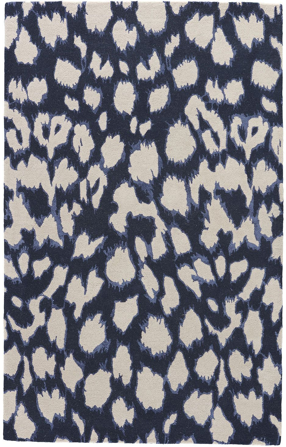 A Contemporary Take On Animal Print This Dark Navy Wool And Silk Hand Tufted Handmade Area Rugs Navy Rug Rug Pattern