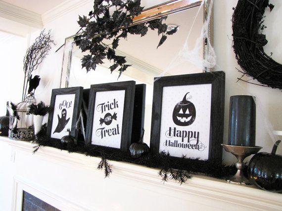 Family-Friendly Halloween Printable Set, Halloween Mantel, Halloween - halloween office decorating ideas