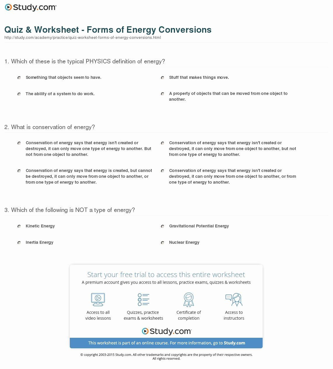 Conservation Of Energy Worksheet Answers Beautiful Energy