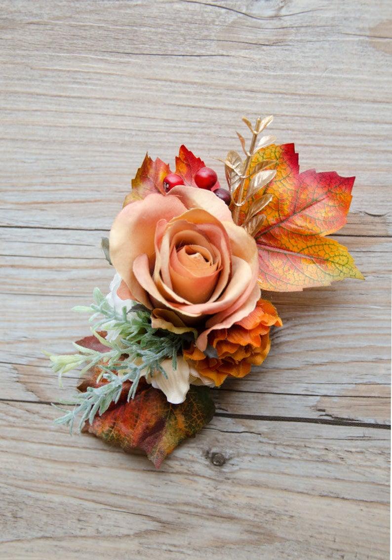 Fall Blooms Hair Flower In Orange Tones Silk Flower Etsy Flowers In Hair Silk Flower Crown Bridal Flower Headpiece