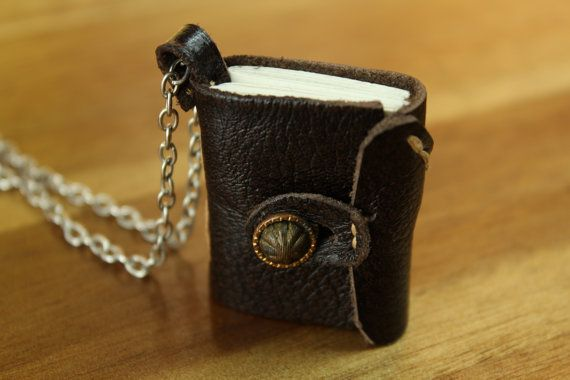 Hand-Stitched Book Pendant Necklace by Type24Ink on Etsy