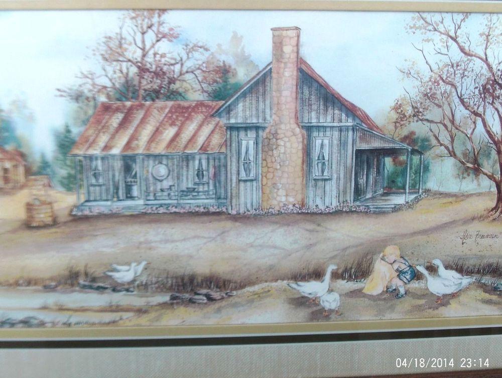 Vtg Feeding Time Signed Ava Freeman Home Interiors Matted Wood Framed Artwork