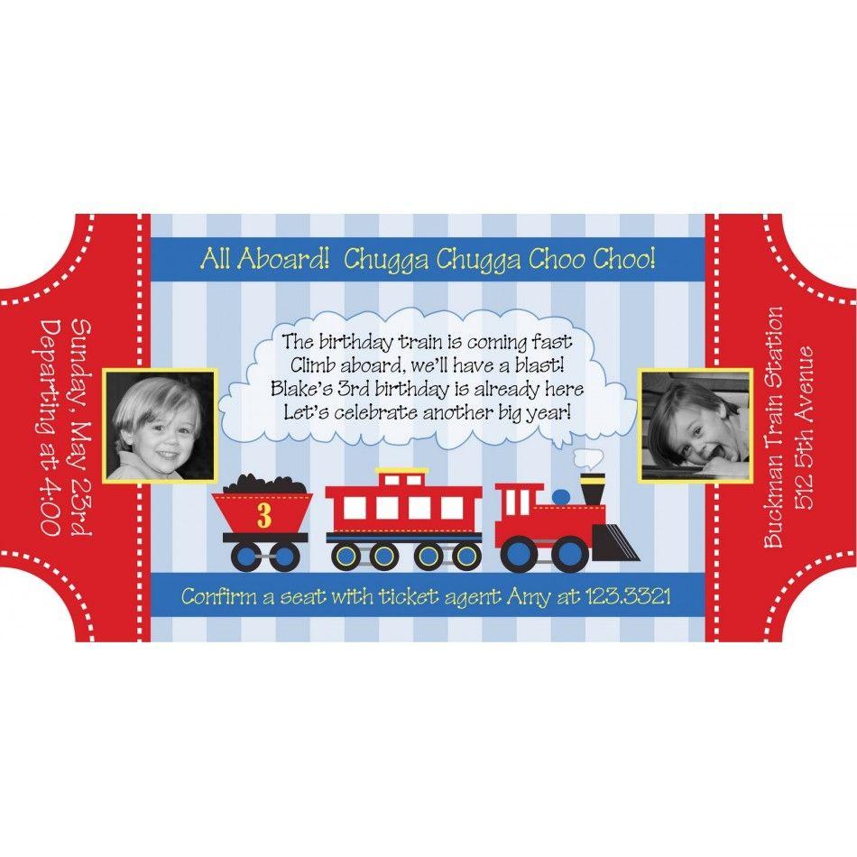 Choo Choo Train Ticket Birthday Party Printable Invitation – Choo Choo Train Birthday Invitations