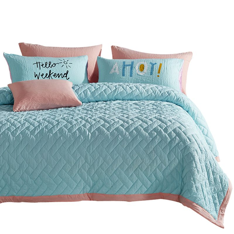 Papa Mima Solid Brief Quilting Bedspread 3pcs Set Twin Queen Size